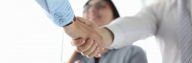 Parceiros de negócios, apertando as mãos