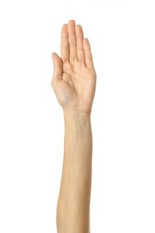 Pare com isso! mão de mulher gesticulando isolado no branco