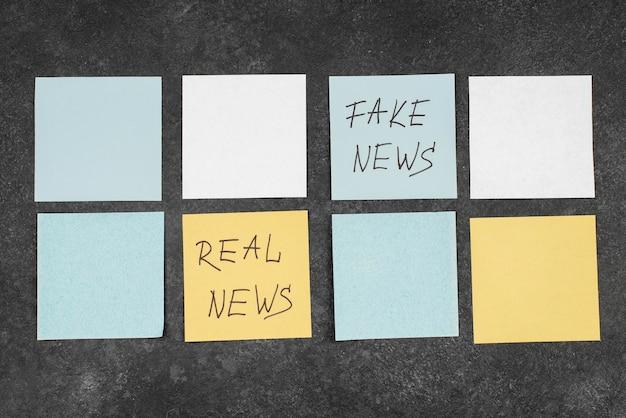 Pare o conceito de notícias falsas com post-its