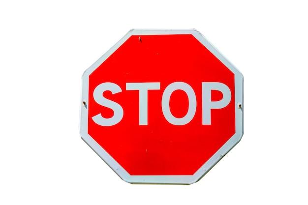 Pare o sinal de trânsito isolado em um fundo branco