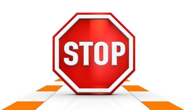Pare o sinal de trânsito isolado na renderização de ilustração 3d fundo branco