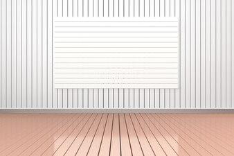 Parede 3D branco ang fundo do assoalho de madeira