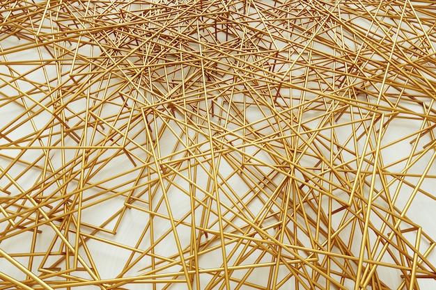 Parede abstrata do ouro branco, cubos porosos brancos com enchimento do ouro, design gráfico moderno. 3d rendem, ilustração 3d. copie o espaço.