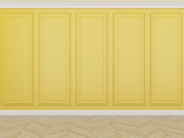 Parede amarela clássica com piso de madeira