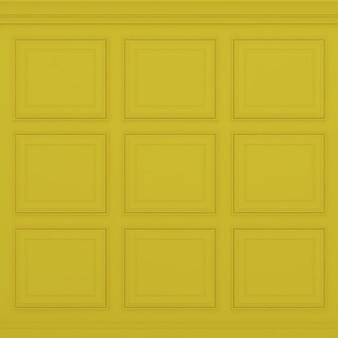 Parede amarela clássica, renderização 3d