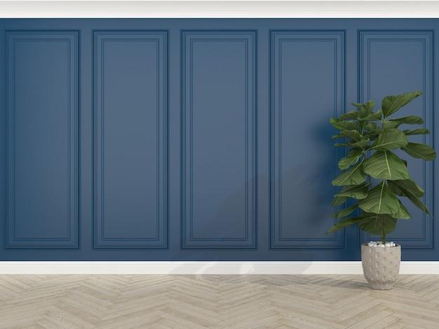 Parede azul clássica com piso de madeira