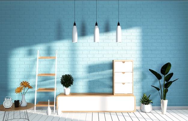 Parede azul da hortelã da sala do modelo da tevê na sala de visitas japonesa. renderização em 3d