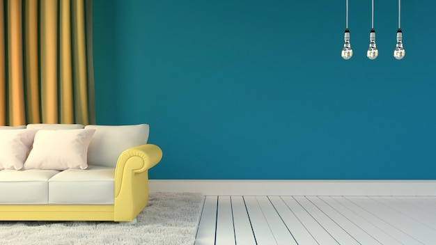 Parede azul e travesseiros no sofá amarelo com tapete branco e três lâmpadas. renderização 3d
