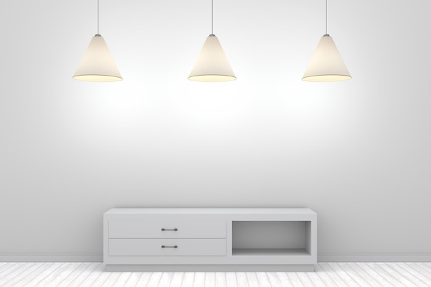 Parede branca 3d com prateleira e três lâmpadas
