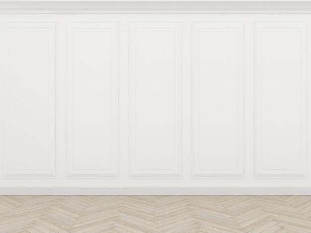 Parede branca clássica com piso de madeira