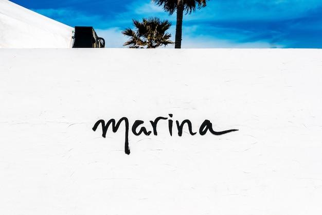 Parede branca com a palavra marina, com palmeiras