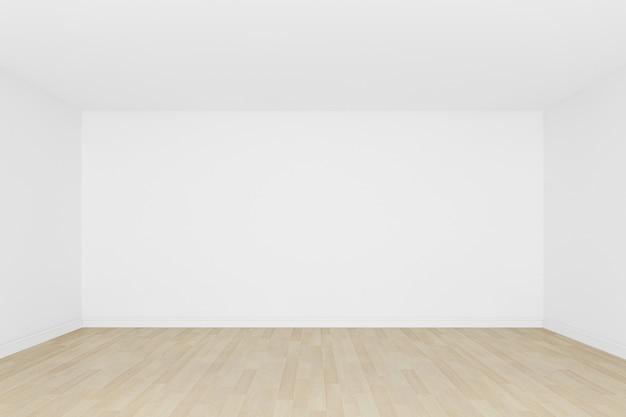 Parede branca com piso de madeira e interior de room3d vazio