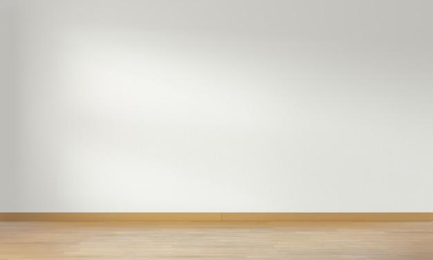 Parede branca da sala mínima e piso de madeira, renderização em 3d