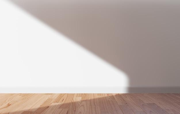 Parede branca e piso de madeira com renderização de luz solar 3d