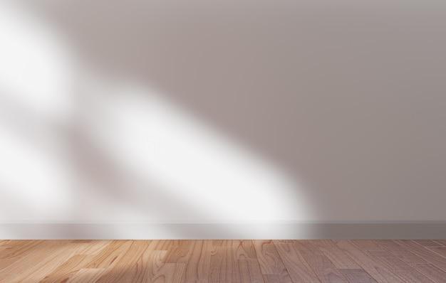 Parede branca e piso de madeira mock up, copie o espaço, renderização em 3d