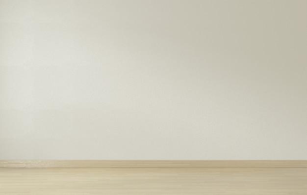Parede branca e piso de madeira, renderização em 3d