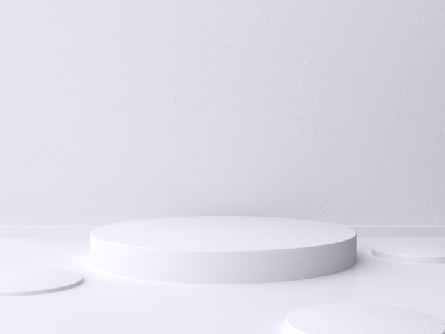 Parede branca em branco cilindro piso 3d rendering