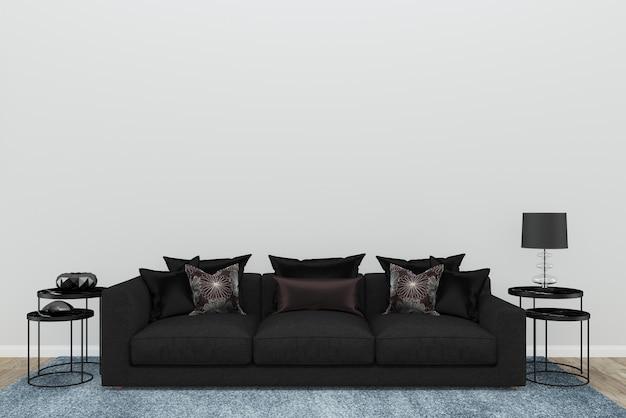 Parede branca sofá preto sala de estar piso de madeira velha tapete azul textura 3d