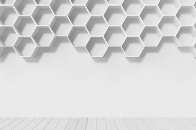 Parede branca vazia com prateleiras de hexágono na parede, renderização em 3d