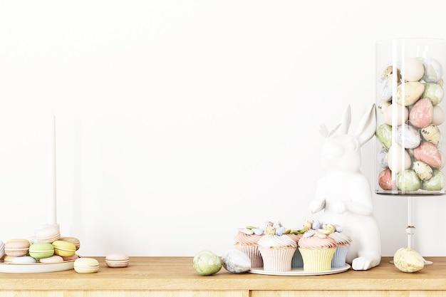 Parede branca vazia e decoração de páscoa