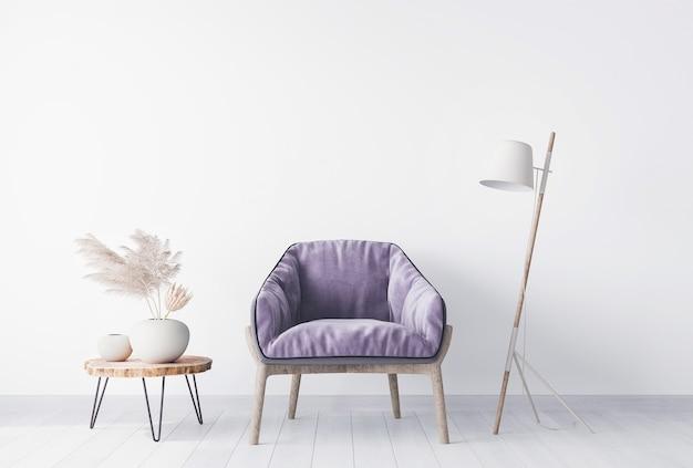 Parede branca vazia na sala de estar simulada com poltrona roxa