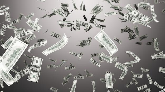 Parede caindo cem dólares na parede cinza