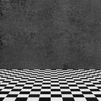 Parede cinza e chão quadriculado
