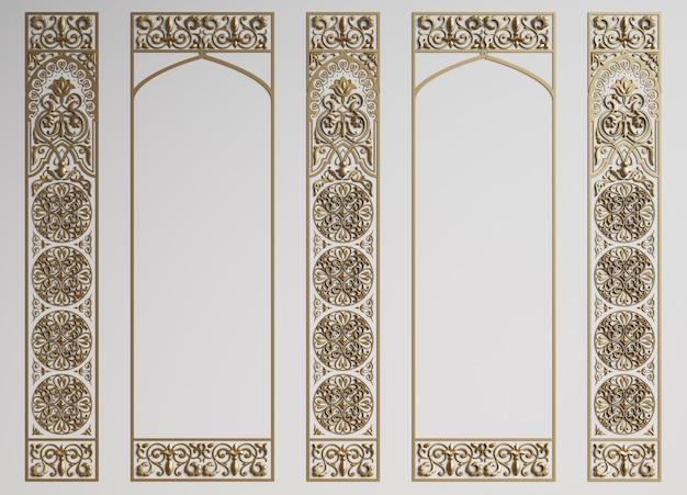 Parede clássica com molduras em estilo oriental