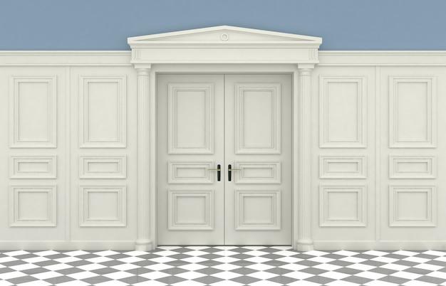 Parede clássica com painéis de madeira
