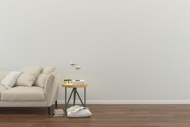 Parede com sofá e árvore piso de madeira telha de mármore mesa 3d render interior