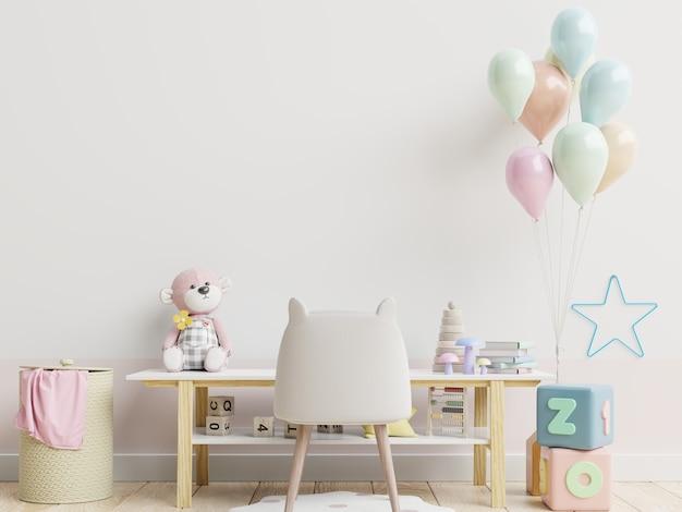 Parede da sala das crianças em renderização 3d de parede branca