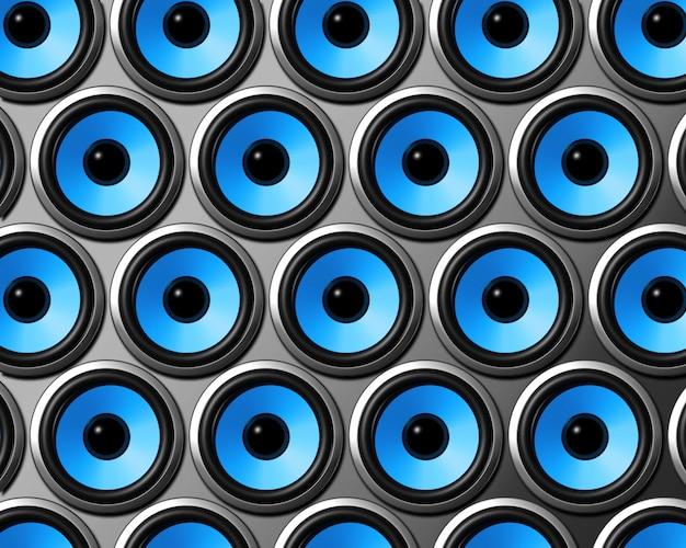 Parede de alto-falantes azuis