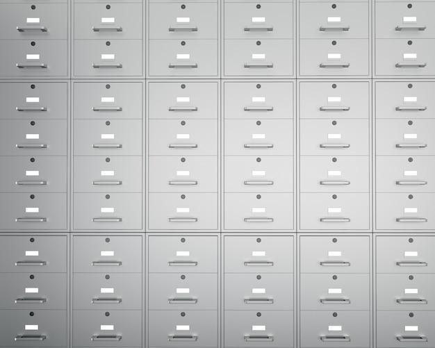Parede de armários de arquivo