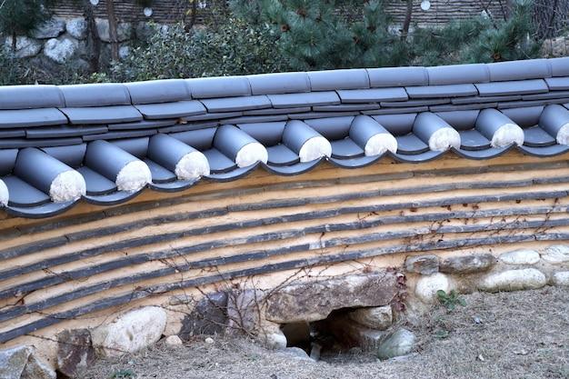 Parede de arquitetura tradicional coreana