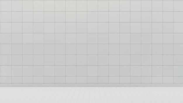 Parede de azulejo branco e piso fundo de sala vazia