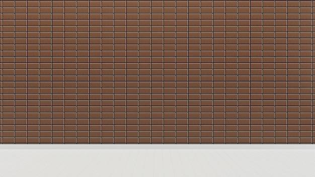 Parede de azulejos de estilo marrom do japão e piso fundo de sala vazia