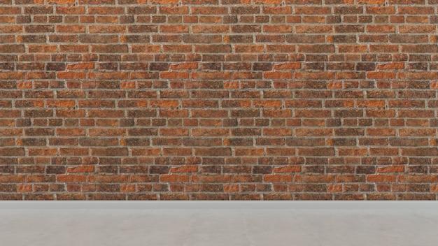 Parede de azulejos de tijolo e piso fundo de sala vazia