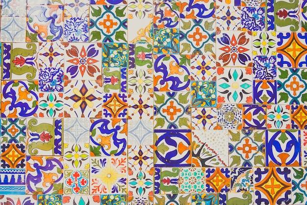 Parede de azulejos marroquinos mosaico islam