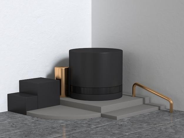 Parede de canto 3d rendering forma geométrica resumo cena preto ouro branco