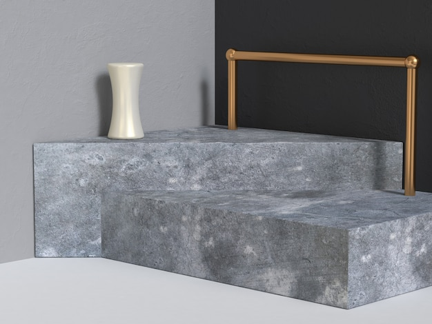 Parede de canto cinza preto concreto pódio renderização em 3d