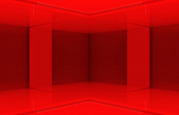 Parede de canto de caixa de painel vermelho design moderno.