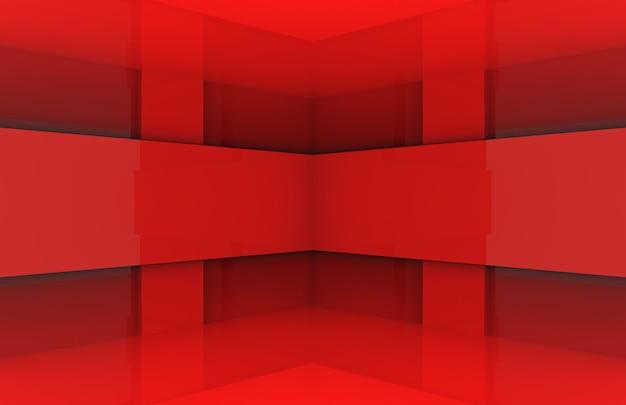 Parede de canto de caixa de painel vermelho moderno.