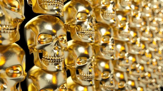 Parede de caveiras texturizadas ouro