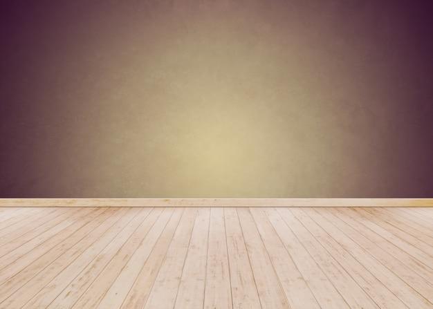 Parede de cimento amarelo e roxo com piso de madeira