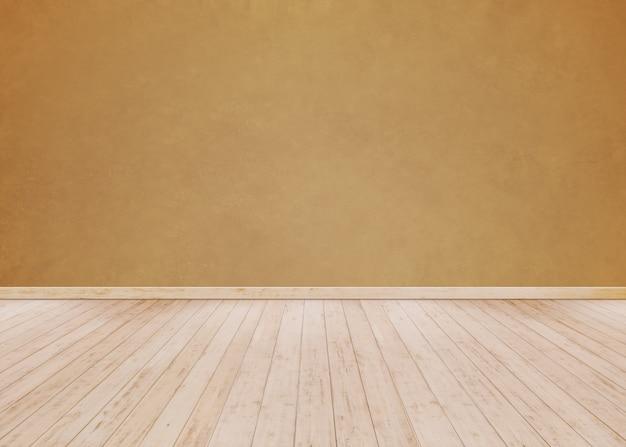 Parede de cimento laranja com piso de madeira