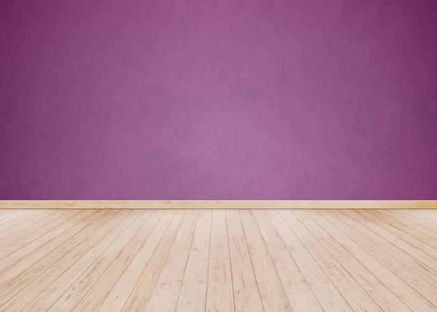 Parede de cimento roxo claro com piso de madeira