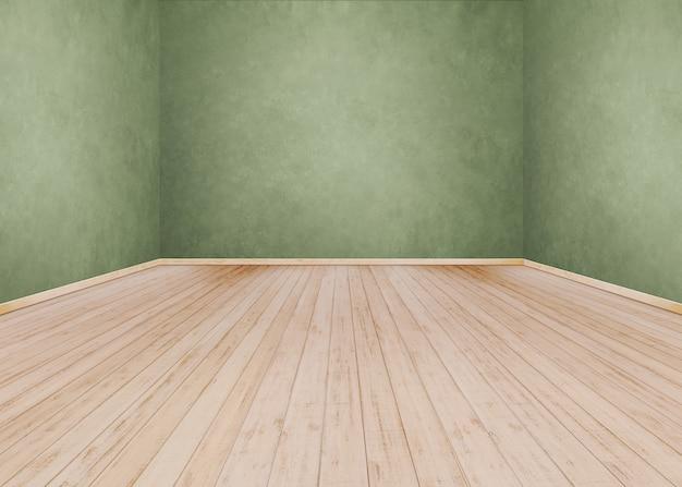 Parede de cimento verde com piso de madeira