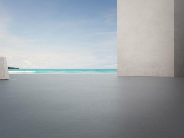 Parede de concreto cinza em terraço ao ar livre vazio