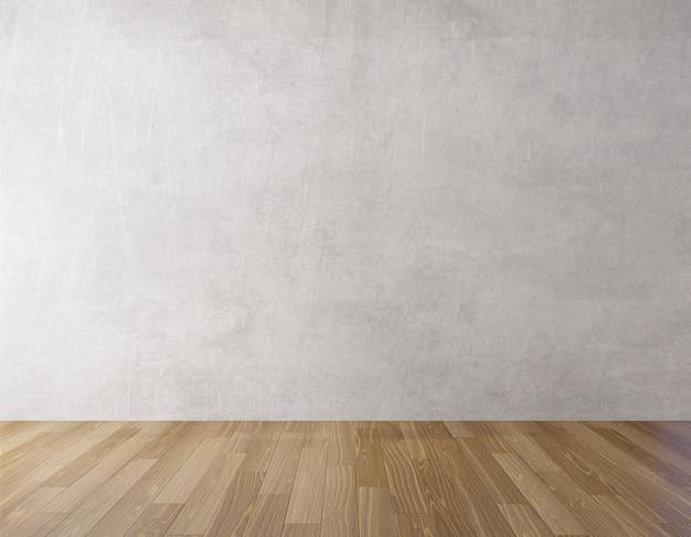 Parede de concreto de fundo e piso de madeira mock up