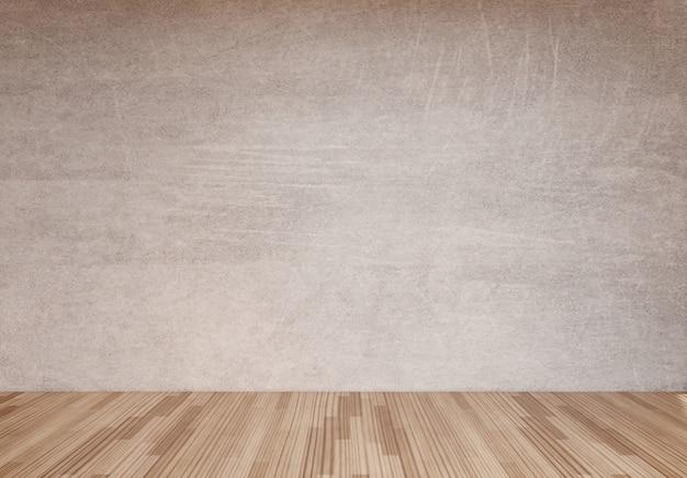 Parede de concreto e piso de madeira